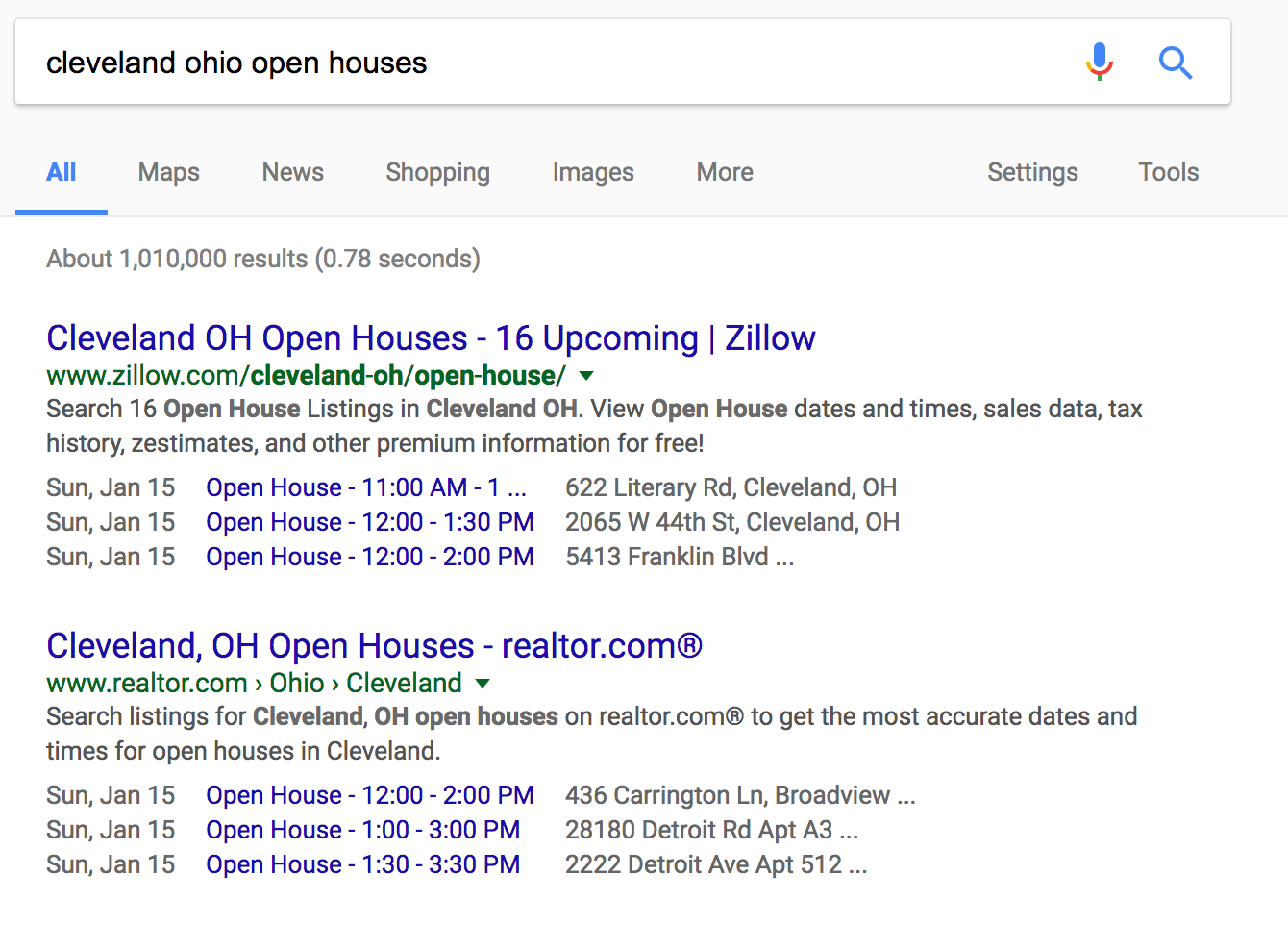 Open house information in search results